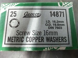 (Box of 25) Au-ve-co Metric Copper Washers for 16mm Screws ID 16.2mm OD 19.8mm