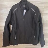 Cutter & Buck Wind Tec Windbreaker Jacket Men's M Black Full Zip