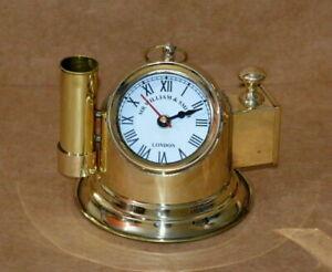 "Vintage brass helmet 5"" clock & pen holder nautical Maritime desk top Replica"