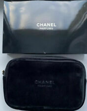 CHANEL PERFUME VELVET COSMETIC MAKEUP BAG-2 COMPLEMENTARY PERFUME INC.-XMAS GIFT