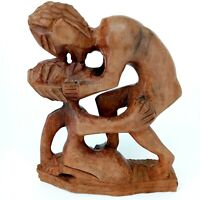 Vintage Wood Carved Statue Sculpture Art African Man Woman Lover's Sexual Erotic