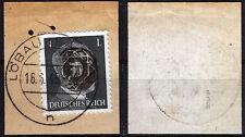 Löbau 3 Briefstück, 1 Pf. Hitler mit Aufdruck, gepr. Zierer BPP