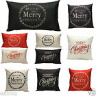 Merry Christmas Letter Sofa Bed Home Decoration Pillow Case Cushion Cover Linen