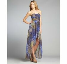 NWT Max and Cleo strapless Chloe peacock print chiffon gown dress Size 0 - $158