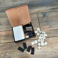 Vintage Dominos Game Faux Tortoiseshell With Playing Cards Travel Size Pocket
