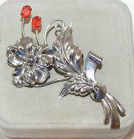Vintage Bond Boyd Sterling Red Rhinestone Flower Brooch Large Pin 7h 85