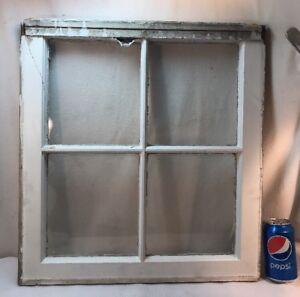 """Vtg SMALL 4 Pane Farmhouse Shabby White 8""""x10"""" Picture Window Sash 8""""x9"""" Glass"""