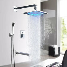 Bath 3-way Mixer 12 in Rainfall Shower Set Tub Spout Tap + Handheld Spray Chrome