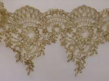 1 Yards Golden Embroidered Lace Trim DIY Sewing Crafts Vintage Decor 15cm Width