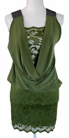 NWT ARDEN B Green Polyester Lace Low Back Sleeveless Dress Women's Size S
