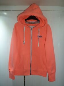 Ladies Bright Coral Zipped Hoodie by Superdry in Size S