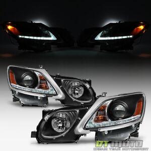 For Blk 2006-2011 Lexus GS300 GS350 HID Xenon LED Strip DRL Headlights Headlamps