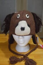 NEW Adult Knit Brown Dog Hat Fleece Lined Made in Nepal Cap Ear Flap Cute & Warm
