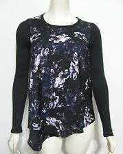 NWT Simply Vera Wang Black Floral Shirt XS $50 Asymmetric Fall Top Purple Flower