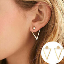 1pair New Gold Color Hollow Triangle Stud Earrings Elegant Geometric Earrings