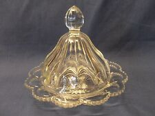 Vintage American Pressed Glass 2-Piece Round Butter Dish Starburst Pattern