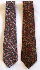 NEW 2 VINTAGE TIES BY SHIRTS UNLIMITED RETRO FUNKY MULTI PRINT FLORAL