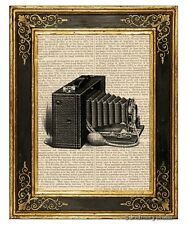 Brownie Camera Art Print on Antique Book Page Vintage Illustration Photography
