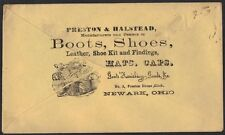 US 1860s NEWARK, OHIO CIVIL WAR PATRIOTIC FLAG & ADV OF BOOTS & SHOES ON BACK OF