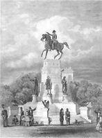 Richmond, GEORGE WASHINGTON MONUMENT HORSE STATUE ~ Old 1870 Art Print Engraving