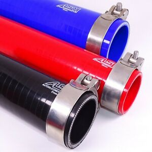 Silicone Straight Hose - with 2 x Stainless Steel T Clamp - Radiator Pipes Tube