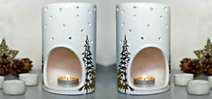 2x White Yankee Candle Holder Gift Set Christmas Tea Light Burner Xmas Decor