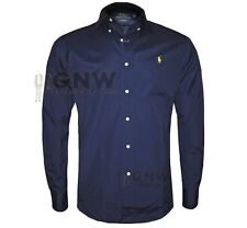 aa16446220b3 Ralph Lauren Shirt Mens Navy Poplin Cotton Custom Fit Yellow Pony Polo  XLarge