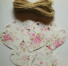 25  Vintage Small Pink Rose Heart Gift Tags / Labels, Gifts,Bottles & Boxes