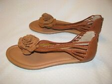 NWB Lucky Brand Brown Leather Strappy Flower Sandals 7.5 M