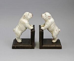 9937734 Eisen Buchstützen-Paar Hunde bulldogge weiß Hund