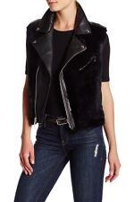 NWT Rebecca Minkoff Leandra Genuine Rabbit Fur & Leather Vest Size S $598 BLACK