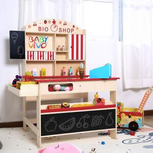 Baby Vivo Kaufladen Kaufmannsladen mit Eisfach Bioladen Kinderladen Marktstand