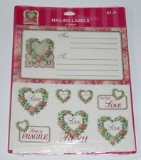 USPS Love die-cut stamps floral heart mailing labels sealed 1999 Hallmark lace