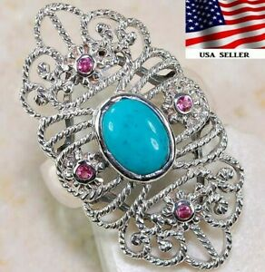 2CT Turquoise & Ruby 925 Sterling Art Nouveau Filigree Ring Jewelry Sz 8 FO3