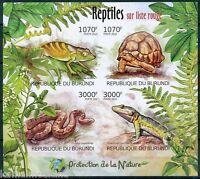 Snake, Tortosie, Reptiles, Protect Nature, BURUNDI 2012 MNH Imperf SS (I229)