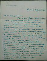 1969 139) LETTERA EX MINISTRO ISRAELE WALTER EYTAN DECIFRATORE CODICE ENIGMA