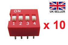 10 X 4 manera interruptores DIP (2 filas 8 Pines) Interruptor deslizante 4 posiciones 2.54mm Pitch