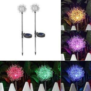 New 2Pcs/Lot Solar Power Dandelion LED Lamps Outdoor Garden Path Light