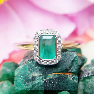 Emerald & Diamond Cluster Ring in 9ct Yellow Gold, Engagement
