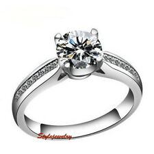 18k White Gold Filled Women's Wedding Engagement Crystal Ring Size 5 R147