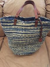 LUCKY BRAND KENYA BLUE MULTI  STRAW Leather LARGE TOTE SHOULDER PURSE *NWT