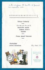 1958 Swiss Watchmakers Advertising Dinner Menu Hotel Hirschen, Obstalden