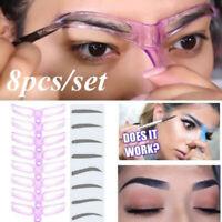 8PCS DIY Eyebrow Shaper Makeup Template Eyebrow Grooming Shaping Stencil Kit WNF