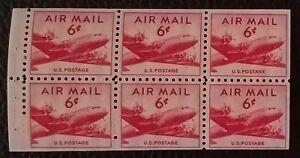Hondo * Scott C39a * CV $12 * 1949 6c US Airmail bklt pane of 6 DC-4 * MSH/OG