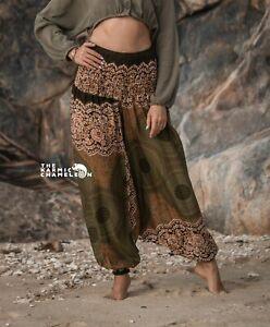 Harem Pants Green Hippie Mandala Print Comfy Yoga Festival Aladdin Boho Gypsy