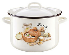 Enamel Coated Steel Cooking Pot with lid 6L Food Cream Zurek Casserole Stockpot