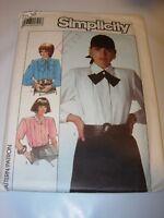 WOMENS UNCUT SIMPLICITY Sewing Pattern 8237 BLOUSE BUTTON DOWN SHIRT SIZE 10