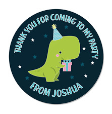 24 Personalised Dinosaur Birthday Party Thank You Stickers - Bag / Cone Seals