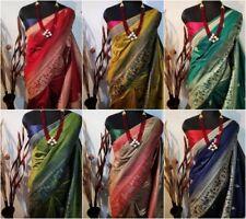 Handloom Raw Silk Saree Blouse Weaving Sari Blouse Indian Traditional Clothing