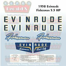 1958 Evinrude 5.5 HP Fisherman Outboard Reproduction 7 Pc Marine Vinyl Decals